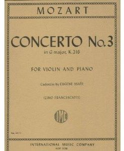 Mozart W.A. Concerto No3 in G Major K. 216 Violin Piano cadenzas by Eugene Ysaye Zino Francescatti